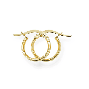 9ct Gold 10mm Diameter 2mm Wide Polished Hoop Earrings