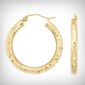 Gold Bonded Silver 20mm Diamond Cut Tube Hoops