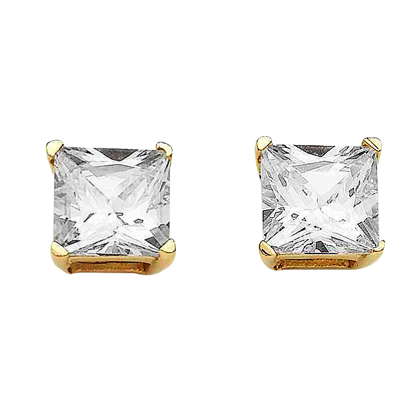 9ct Gold Claw-Set 4mm Princess-Cut Cubic Zirconia Stud Earrings
