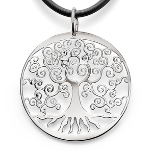 Sterling Silver Round Filigree 'Tree Of Life' Disc Pendant