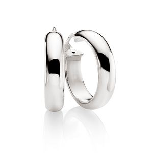 Sterling Silver 15mm 5mm Half Round Polished Hoops