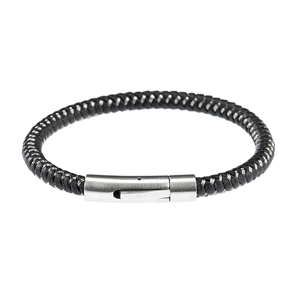 Cudworth Steel & Leather Bracelet With Stainless Steel Clasp
