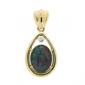 Firegem 9Ct Yellow Gold Opal Pendant
