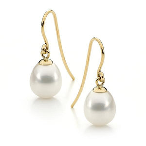 9ct Yellow Gold White Round 7.5-8mm Freshwater Pearl Hook Earrings