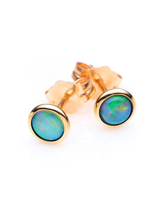 Ikecho 9ct Yellow Gold Light Solid Opal 4mm Studs