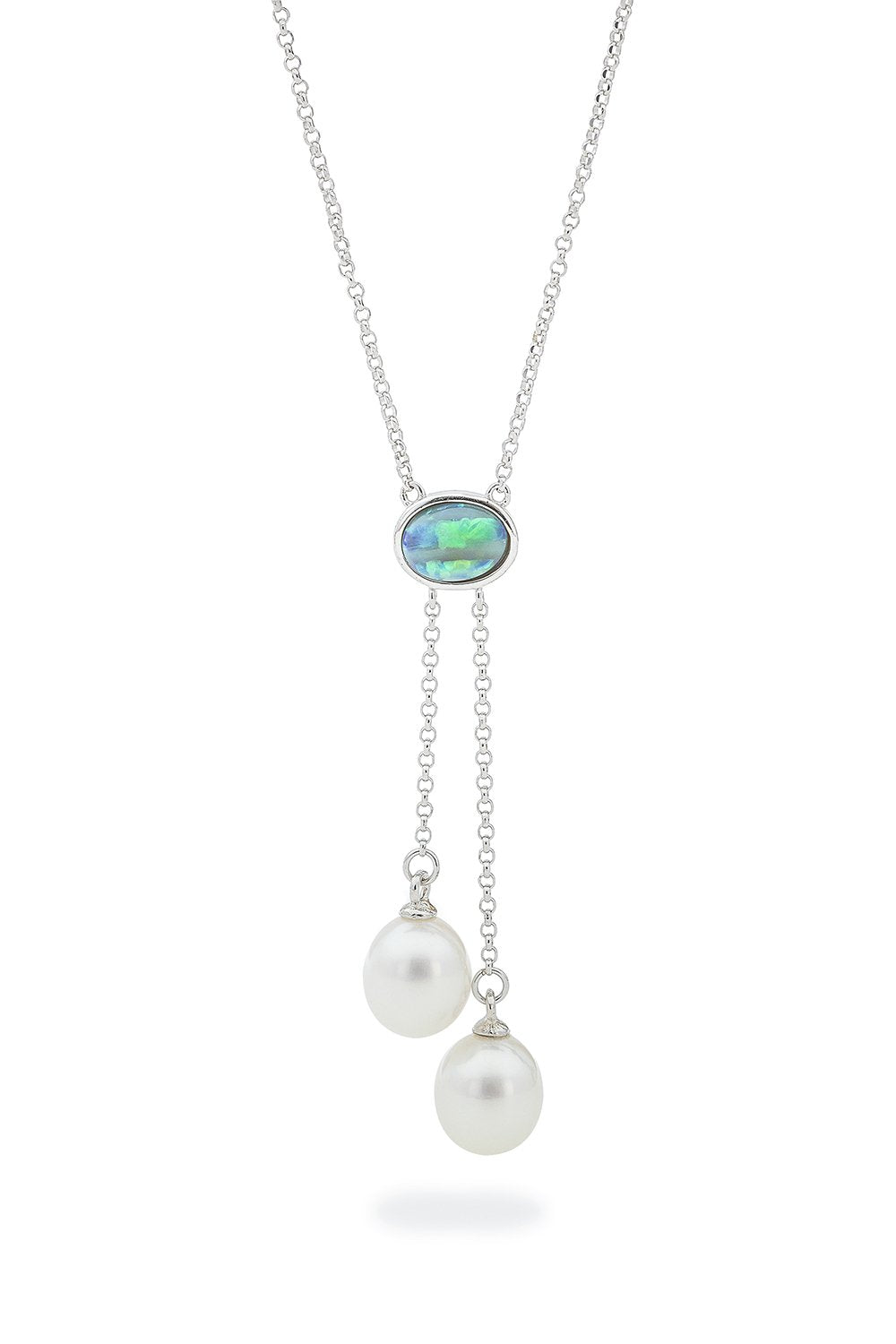 Ikecho Sterling Silver light solid opal/ FWP lariat 42cm+ ext.3cm