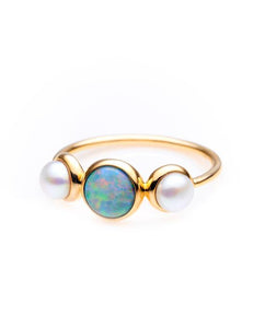 Ikecho 9ct Yellow Gold Light Solid Opal and Pear Ring