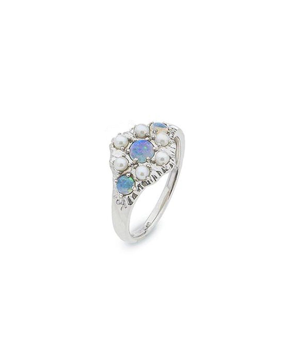 Ikecho Sterling Silver Light Solid Opal & Pearl Ring
