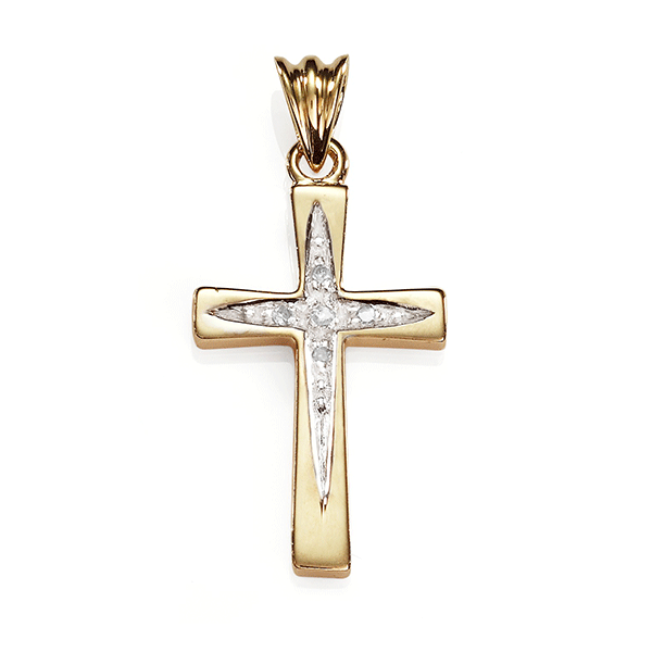 9ct Gold Diamond Pave Set Cross Pendant