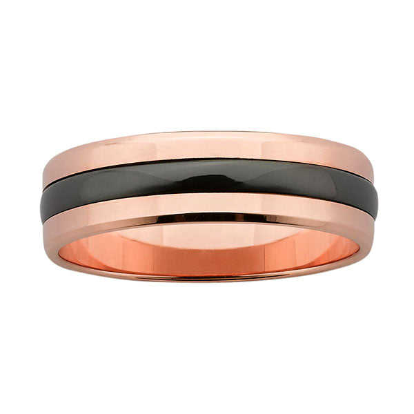 Ziro Red Gold with Black Zirconium Ring
