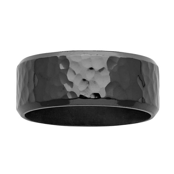 ZiRO Black Zirconium Hammered Ring
