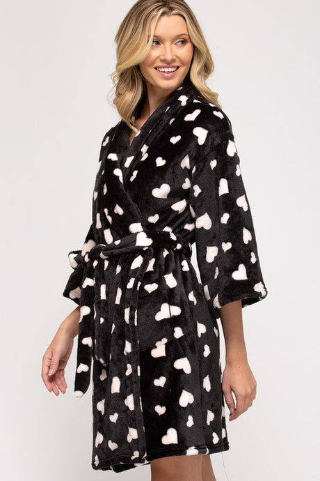 Heart Fleece Robe