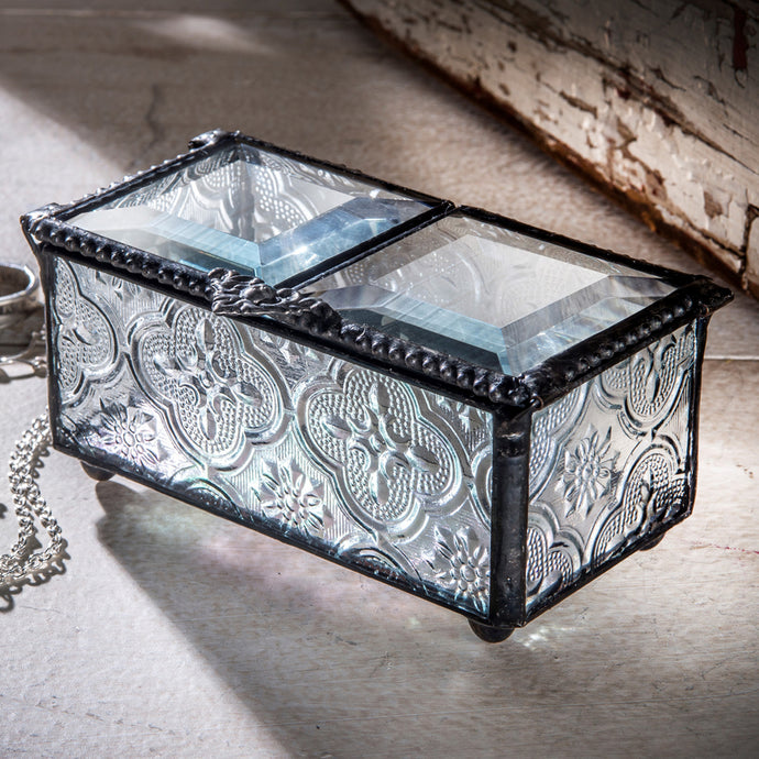 Double Door Glass Jewelry Box