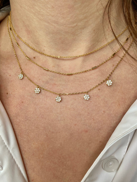 Layered CZ Disc Necklace