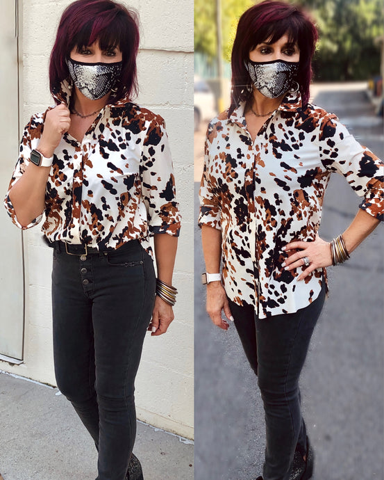 Connie Slim Button Down- Cowhide Print