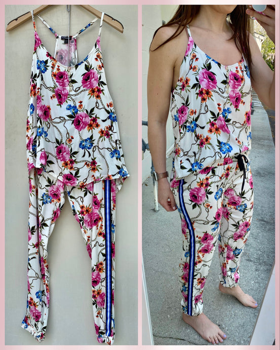 Floral Stripe Lounge Set
