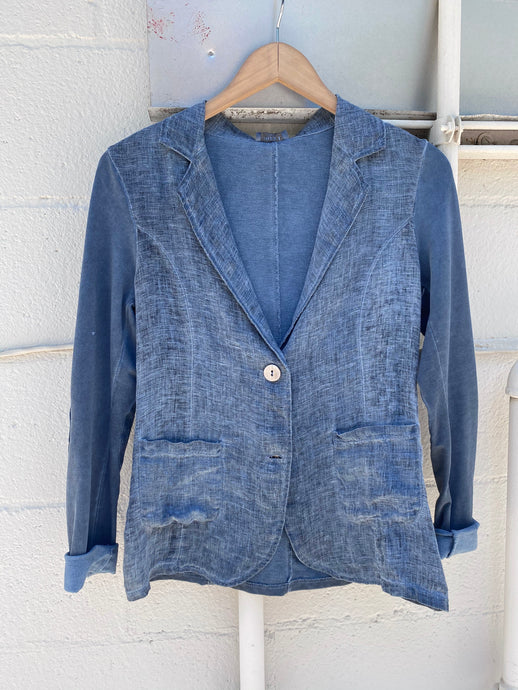 Linen Blazer with Jersey Back