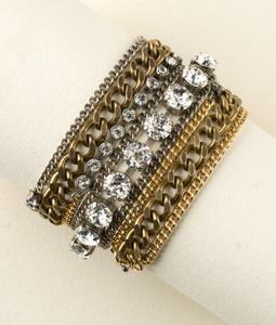 Mixed Metal and Crystal Wrap Bracelet