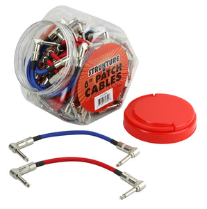 "6"" Woven Right Angle Patch Cables Red/Blue (48 pcs. Per Fishbowl Display)"