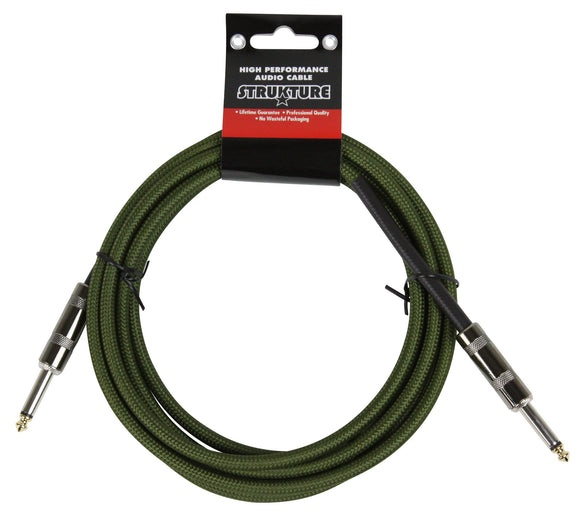 10ft Instrument Cable, 6mm Woven - Military Green