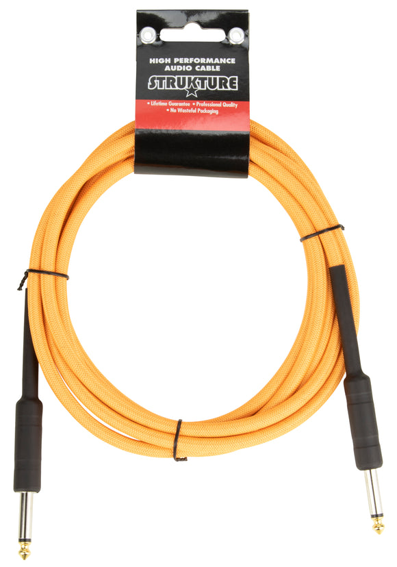 10ft Instrument Cable, 6mm Woven - Electric Sunset Orange