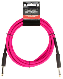 18.6ft Instrument Cable, 6mm Woven - Pink Panic