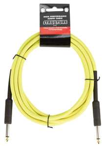 10ft Instrument Cable, 6mm Woven - Hi-Viz Yellow