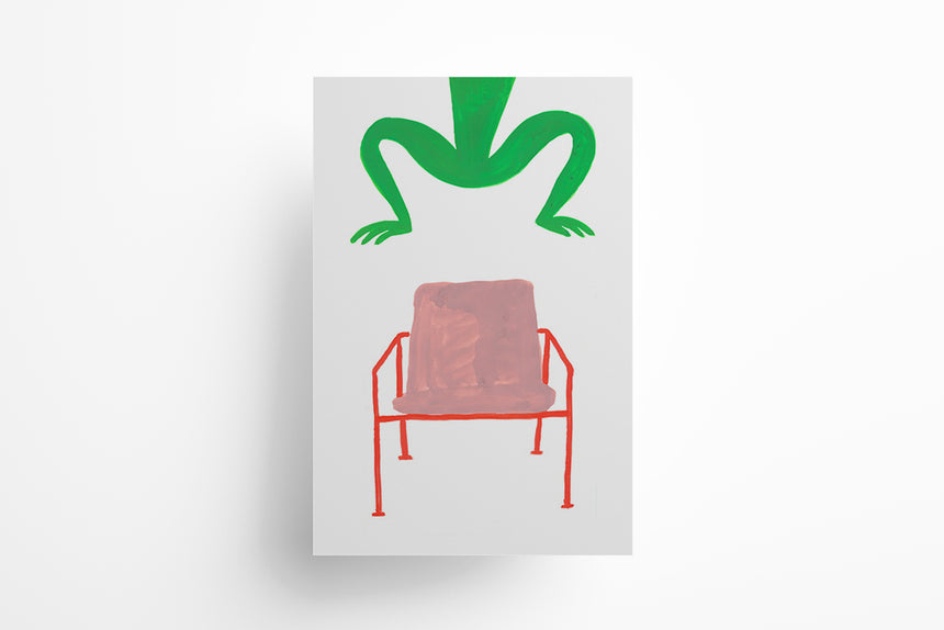 Frog jumping over Chair Print (Unframed)
