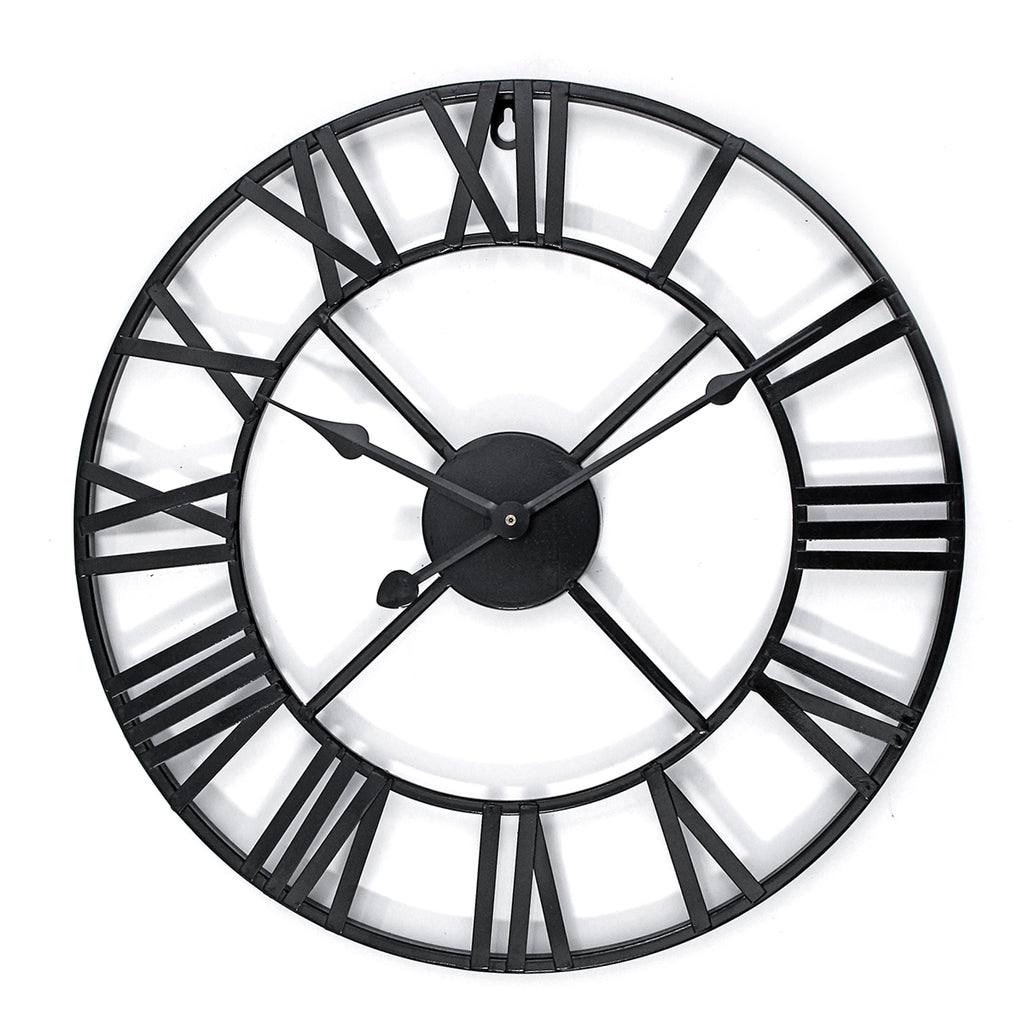 Large Metal Skeleton Roman Numeral Wall Clock