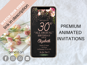 Birthday Video Invitation, Electronic Birthday Invite, Digital Birthday Invitation, Virtual Invitation, Birthday E-Card