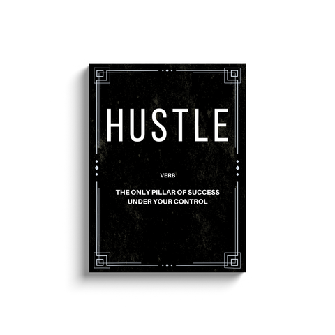 Hustle Verb Motivational Wall Art (with printed frame)