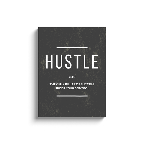 Hustle Verb Motivational Wall Art Minimalist Grey