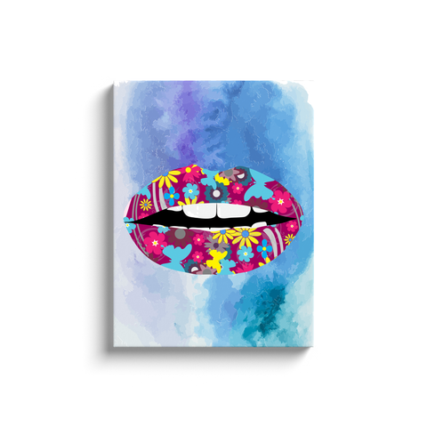 Butterfly Flower Lips Canvas / Abstract Art Canvas / Colorful Artwork / Mixed Paint Art / Lips Artwork / Women's Lips Art / Kiss Art