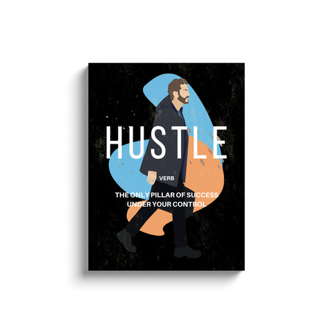 Hustle Verb Motivational Wall Art (Man with Briefcase)