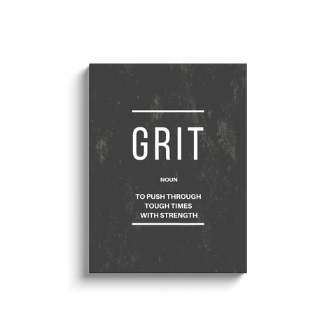 Grit Noun Motivational Wall Art Grey