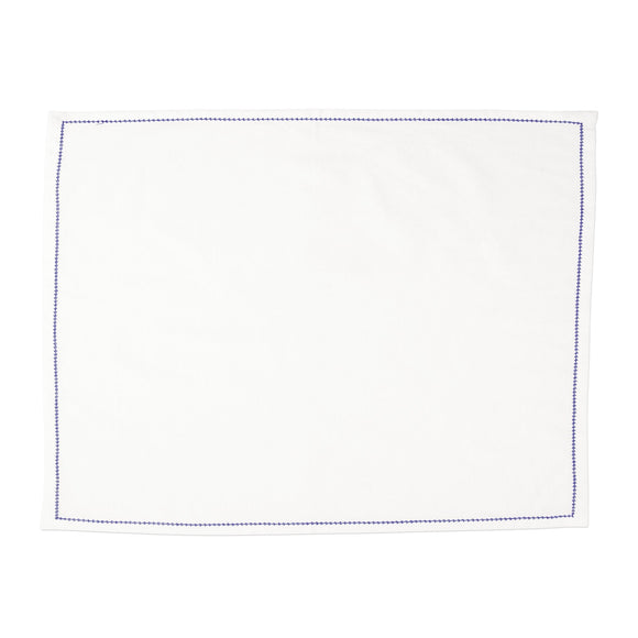 Cotone Linens Ivory Placemats with Cobalt Stitching - Set of 4