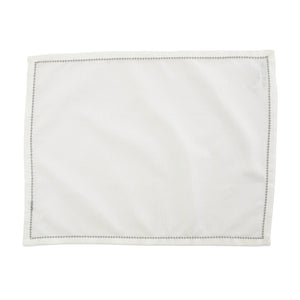 Cotone Linens Ivory Placemats with Light Gray Stitching - Set of 4