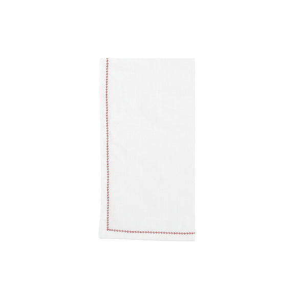 Cotone Linens Ivory Napkins with Red Stitching - Set of 4
