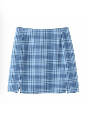 Blue Plaid Print Skirt