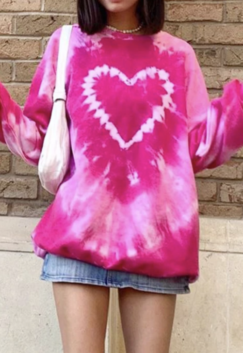 Hot Pink Heart Tie-Dye Crewneck