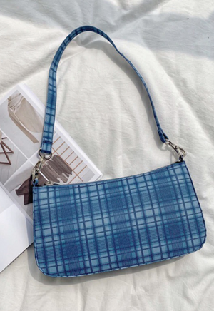 Blue Plaid Shoulder Bag