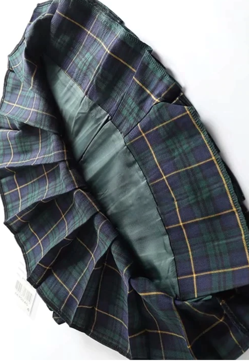 Load image into Gallery viewer, Dark Green Plaid Tennis Skirt