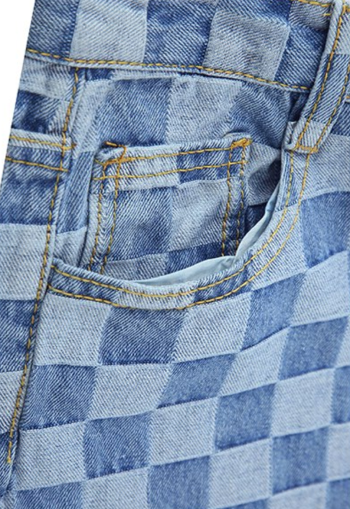 Checkered Straight Leg Jeans