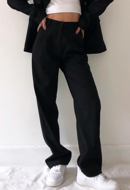 Load image into Gallery viewer, Ava Black High-Waisted Trousers