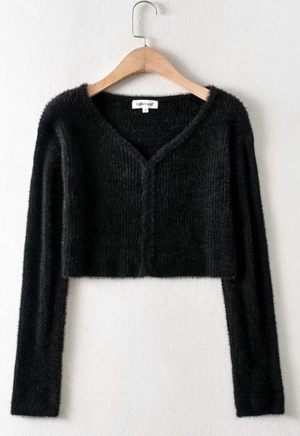 Ashley Fuzzy Long Sleeve Cardigan