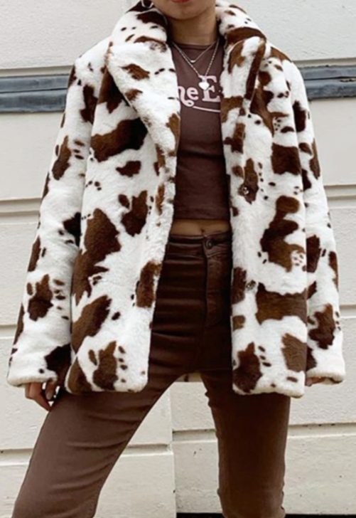 Fuzzy Brown Cow Print Jacket