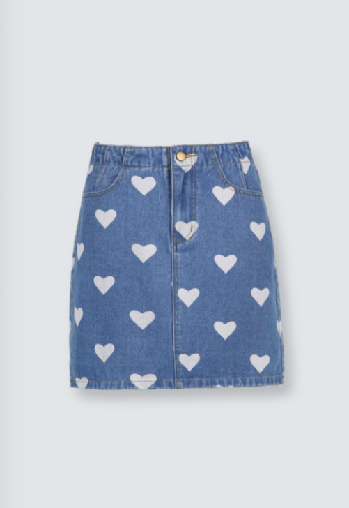Heart Denim Mini Skirt