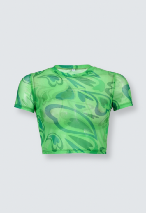 Green Heartswirl Mesh Tee
