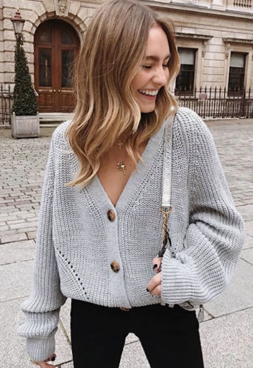 Grey V-Neck Cardigan