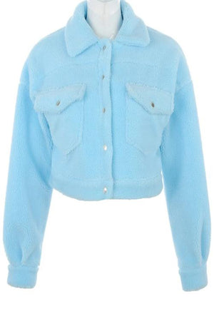 Baby Blue Cropped Jacket